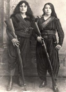 Two Armenian women pose with their rifles before going to war against the Ottomans, 1895